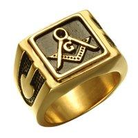 Muratori unici Anelli massonici in acciaio inox Black Oil Black Gold Gold Compass Bussola Quadrato Freemasons Signat Ring Fremassonry Associazione Fraternale Gioielli da uomo