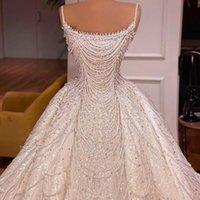 Exquisite Dubai Wedding Dress Sequins Spaghetti Heavy Beading Bridal Gowns Luxurious Pearls Amazing vestido de novia