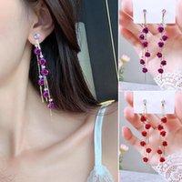 Dangle & Chandelier 1 Pair Rose Flower Earrings Long Tassel Drop Summer Dress Earring Wedding Party Fashion Jewelry Gifts For Women Girls