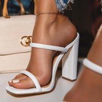 Moda de verano Sandalias Bombas 2021 Moda dedos de los pies abiertos 10.5cm Tacones altos Hembras Cinturón fino Tacones gruesos Partido Calzado casual Calzado