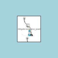 Barbon Bijoux Bijoux Bijoux0170-1 Boilly Bouton Navel Anneaux de nombril Dangle Dream Catcher Aessories Fashion Nice Charme Aqua. Couleur CZ 10PCS / Lot Drop D