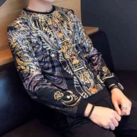 Luxury Gold Print Velvet T Shirt Uomini Royal Retro Maniche lunghe Tshirt Casual Slim Social T Shirts Streetwear Hip Hop Top 210527
