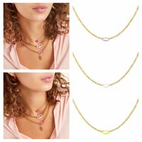 Chains CANNER 2021 Trend Minimalist Paper Clips Clavicle Necklace Silver 925 Chain For Women Rainbow Color Collares Para Mujer