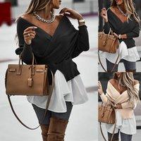 Fluffy Maglione lavorato a maglia Donne autunno inverno sexy profondo scollo a V involucro anteriore Basic Pollover ritagliati Moda Capispalla BULLURESS 202 Camicette da donna