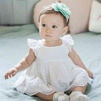 الرضع فتاة رومبير اللباس ولد قطن نقي مطرز الرباط بذلة الاطفال ملابس الطفل تتسابق الصيف 0-24 متر 210816