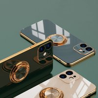 Fashion Mobile Phone Cases for iPhone 12 Mini 11 Pro Max with Metal Magnetic Ring Holder PC Shockproof Cell Back Cover