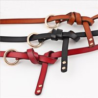 """Belts 2021 Designer Ladies Black White Red Narrow Thin Genuine Leather Belt Women""""s O Ring Knot Waistband For Woman Dress"""