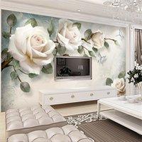 New European Wallpaper White Rose Flower Mural Custom Photo Wallpapers Living Room Wall Paper 3d Papel Pintado Pared Rollos Papel De Parede