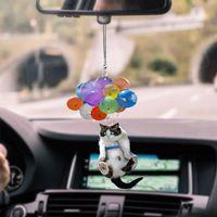 Decorative Objects & Figurines Cat Balloon Car Pendant Cute Rear View Mirror Kitten Decoration Cartoon Camera Ornament