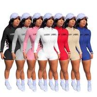 Frauen Overalls High Neck Thread Stickerei Brief Reißverschluss Sport Bodycon Jumpsuits Strampler Bodysuit CY3099