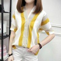 Women's T-Shirt Women Short Sleeves Striped Shirt V-Neck Loose Office OL Summer Party Basic Tops HSJ88