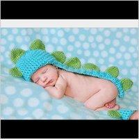 Cappellini Cappelli Accessori Baby, Bambini Maternità Drop Consegna 2021 Ragazzi fatti a mano all'uncinetto Cloak Pops Cute Dinosaur Costume Animale Ambito a maglia