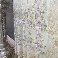European high-end janela de janela de luxo em relevo corda bordado flor cortina de tule para sala de estar quarto bege puro 35 drapees