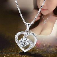 Silver Color Women Casual Heart-shaped Pendant Necklace for Ladies Birthday Christmas Valentine Jewelry
