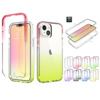 360 Gradient Color Hard PC Soft TPU Shockproof Cases for iPhone 13 11 Pro Max XS XR X 6 7 8 Plus 12 Mini 2 in 1 Hybrid Cellphone Case
