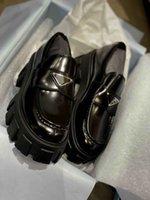 الفاخرة مونوليث المتسكعون الأحذية العروة مكتنزة المنصة منصة الكعوب النساء أحذية رياضية أبيض أسود مصمم العلامة التجارية سيدة الأخفاف الراحة فوغر