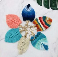 Bohemian Tassel Keychain Pendant Creative Leaf Shape Hand Woven Keychains Luggage Decoration Key Chain Party Gift Keyring