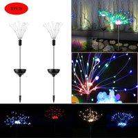 Solar Powered Outdoor Grass Globe Dandelion Fireworks Lamp Flash String 90 120 150 LED For Garden Lawn Landscape Holiday Light Lamps