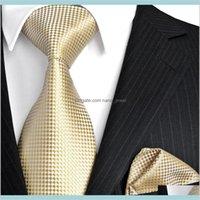 목 패션 액세서리 F15 골드 노란색 시어 솔리드 망 넥타이 넥타이 100percent 실크 자카드 짠 넥타이 세트 손수림 S