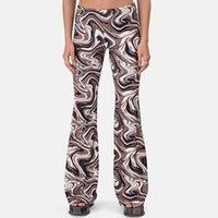 Женские брюки CAPRIS GIYU Случайные женские коричневые печатающиеся моды с высокой талией Y2K длинные брюки BodyCon Летние стройные панталоны Femme Street
