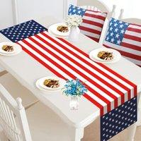 Amerikanische Unabhängigkeit Tag Banner Flaggen Leinen Tischläufer Home Restaurant Dekoration Zwerg Langstreifen Tischdecke Wohnzimmer Kaffeetische Tischdecken