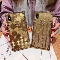 الفاخرة مربع الذهب بريق القضية ل iphone XR XSMAX 11 12 برو ماكس 6 7 12mini 8 زائد الأزياء غطاء الإطار لينة