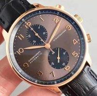 Роскошный хронограф мужские часы Португанец Сапфировый розовый золотой кофе черный синий кожаный спорт белые часы наручные часы