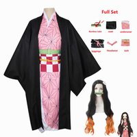 Niños para adultos Anime Demon Slayer Kimetsu No Yaiba Woman Kimono Kamado Nezuko Cosplay Disfraz Q0821