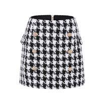 UKCNSEP Новая мода на взлетно-посадочной полосы юбка женские бондушковые кнопки льва Houngstooth Tweed Mini юбка 210330