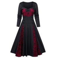 # Z20 frauen plus größe dress halloween schädel spitze einfügen mock button bowknot gothic mittelalterliche kleider vestidos casual