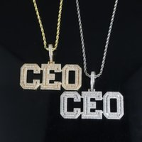 Chains Gold Silver Color Words CEO Pendant Necklace With 5mm Cz Tennis Chain Miami Cuban Link For Men Women Hip Hop Jewelry