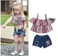 Newborn Sets Baby Girl Ruffle Print Tops Denim Shorts Pants 2PCS Outfits Princess Girls Summer Holiday