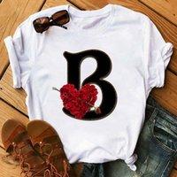 Özel Adı Mektup Kombinasyonu Kadın T-shirt Çiçek Mektup Yazı Tipi A B C D E F G Baskı Kısa Kollu Tee Tops Kadın T-shirt Giysileri