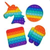 Eonpin Rainbow POP On Push Bubble Fidget Игрушка AntiStress Sensory Papt Relief Squishy Anti-Stress Poppit Toys Подарок для взрослых детей