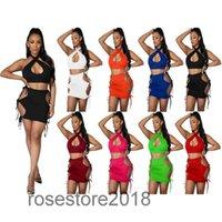 2021 Сплошной цвет женской моды Сексуальный жилет Короткие юбки из двух частей Установка Halter выложить платье