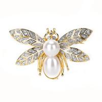 Broche de Varole para mujer Brooche en forma de abeja con Rhinestone de cristal de gran perla únicos 18k broches de oro chapado en oro