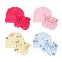 Bebé anti rascadura de guantes de algodón Sopa de sombrero infantil Conjunto de cara recién nacido Protección de la cara Scratija Mittens Transpirable algodón Casquillo de cálido Bannet de bebé 2498 Q2