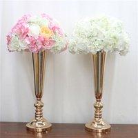 Dekorative Blumen Kränze Europäische künstliche Blumenständer Romantische Schmiedeeisen Metall Vase Kerzenständer Dekor Hochzeit Floral Party Home R