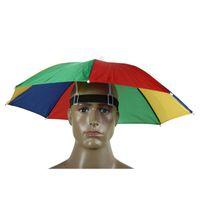 Umbrellas 2021 Outdoor Umbrella Hat Novelty Foldable Sun Day Rainy Hands Free Rainbow Folding & Waterproof Multicolor Cap