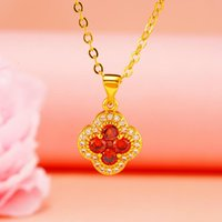 Red Pink Purple Natural Stone Crystal Clover Pendant 24K Gold Color Flower Choker Link Chain Necklace For Women Wedding Jewelry Necklaces