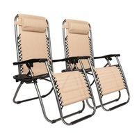 Us stock 2 stücke Khaki Patio Bänke tragbare Klappstühle mit Untertasse Pflaumenblütenschloss für Sicherheit Eisenrohr und Tuch