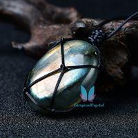 Natuurlijke handgemaakte kristal labradoriet steen edelsteen hanger maansteen sunstone hanger divinering spirituele meditatie sieraden