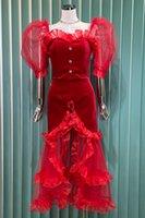 French Style High Sense Autumn New Evening Dress Banquet Hip Skirt Velvet Stitching Fishtail Dress Elegant Dress