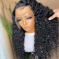 Preplucked Jet Black Color Long Looes Wave Lace Front Synthetic Wig For Women With Baby Hair Heat Temperature 180%Density Wigs