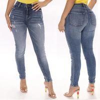 Jeans da donna Summer Vita bassa Strappata Spandex Donne QTN871