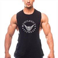 Märke Fitness Clothing Nen Tank Tops Low Cut Arms Cotton Gym Vest Bodybuilding Stringers TankTop Workout Singlets