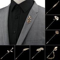 Homens avançados broches chiques ouro / folha preta pino terno xaile lapel pins uxedo corsage chapéu camisa colarinho pin festa diária acessório diário