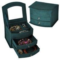 Hot selling de alta qualidade veludo três camadas portátil multi-funcional colar anéis jóias caixas de moda design presentes caixa