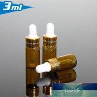 3ML Amber Glass Bottles,3CC Brown Dropper Bottle Mini Sample Vial Essential Oil Bottle With Gold Rim Tangent Line Free