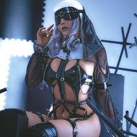 어두운 통치 수녀복 가죽 드레스 레오타드 탄성 Clack 뜨거운 애니메이션 코스프레 섹시한 여자를위한 풀 세트